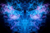 Fantasy Print For Clothes: T-shirts, Sweatshirts.  Colorful Blue And Purple Smoke In The Form Of A S poster