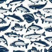 Fish Seamless Pattern For Fishing Or Seafood Restaurant. Vector Background Of Sea And Ocean Fishes S poster