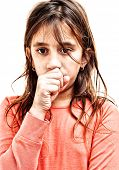 picture of cough  - Small girl coughing isolated on a white background - JPG