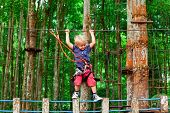 Brave Young Child In Safety Harness Climb High On Tree Tops, Pass Hanging Bridge Obstacle In Adventu poster
