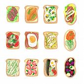 Sandwich Breakfast Toast Set Bread Slices Toasted Crust Sandwich With Butter Fried Flat Cartoon Sand poster