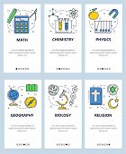 Vector Web Site Linear Art Onboarding Screens Template. School Subjects, Math, Physics, Biology, Che poster