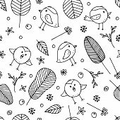 Cute Vector Seamless Colorless Background For Kids Room, Fabric, Textile. Beautiful Floral Doodle El poster