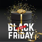 Black Friday Sale Banner. Black Friday. Black Gift With Gold Realistic Bow On The Black Background.  poster