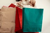 Christmas Shopping And Seasonal Sale. Happy Girl In Sweater Holding Red And Green Paper Shopping Bag poster