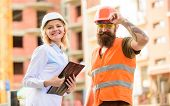 Construction Industry. Foreman Established Supply Of Building Materials. Expert And Builder Communic poster