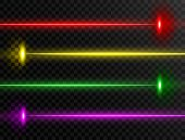 Laser Beam Set. Colorful Laser Beam Collection Isolated On Transparent Background. Neon Lines. Glow  poster