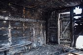 Completely Burnt Wooden House. Consequences Of Fire. poster