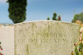 picture of tyne  - Grave of unknown fallen soldier in World War I at Tyne Cot cemetery in Passchendaele Ypres Flanders - JPG