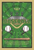 Baseball Or Softball Sport Game Stadium Field, Balls, Bat And Infield Bases. Baseball League Tournam poster