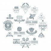 Barbecue Grill Logo Icons Set. Simple Illustration Of 16 Barbecue Grill Logo Icons For Web poster