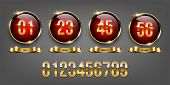 Golden Numbers Inside Red Circles With Golden Rings And Golden Ribbons On Gray Background. Vector Lu poster