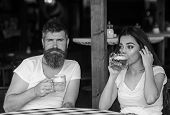 Couple In Love On Date Drinks Beer. Man Bearded Hipster And Girl With Beer Glass Full Of Craft Beer. poster
