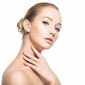 Beautiful face of young caucasian woman with perfect health skin  - isolated on white.  Skin care co poster