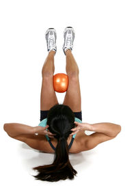 pic of workout-women  - Woman doing crunches with fitness ball over white background - JPG