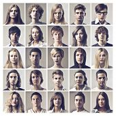 Composition of portraits of different young people