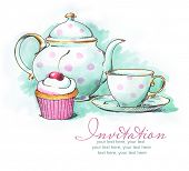 painted watercolor teapot, cup and cupcake