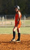 picture of fastpitch  - a fast pitch softball player on second base  - JPG