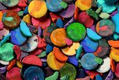 stock photo of arts crafts  - Art paint concept background as a group of old used water color pucks as an arts and crafts school and creative education idea for children and students to discover and express their creativity - JPG