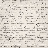 stock photo of cursive  - Seamless abstract handwritten light old text pattern - JPG