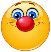 stock photo of clown face  - Emoticon with clown nose - JPG