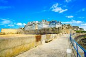 Saint Malo City Walls And Beach. Brittany, France.