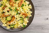 image of fried onion  - Pasta with fried zucchini - JPG