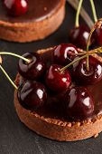picture of tarts  - chocolate tart with cherry - JPG