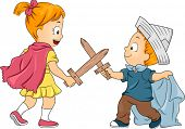 image of playmates  - Illustration of Little Male and Female Siblings Playing Swordfight - JPG