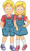 Illustration of Little Boy and Girl Twin Siblings