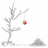 stock photo of taper  - Lonely Christmas ball on the tree chipped - JPG