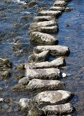 Telephoto view of stepping stones crossing river in Yorkshire Dales.