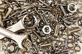 stock photo of bolts  - Spanners on nuts and bolts - JPG
