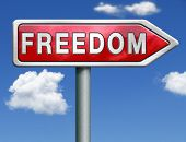 freedom peaceful free life without restrictions and peace democracy red road sign arrow with text an
