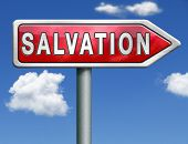 foto of salvation  - salvation follow jesus and god to be rescued save your soul icon button red road sign arrow with text and word - JPG