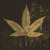 Cannabis leaf grunge icon. With stained texture. Raster version, vector file available in my portfol