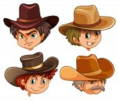 Illustration of the different faces of four cowboys on a white background