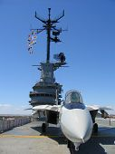 stock photo of f15  - F15 on an aircraft carrier at sea - JPG