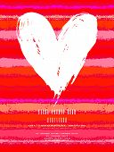 pic of two hearts  - Vector grunge card with hand painted heart shape on striped background in red color - JPG