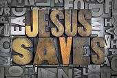 foto of jesus  - Jesus Saves written in vintage letterpress type - JPG