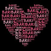 Bari word cloud in pink letters against black background