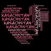 Постер, плакат: Облако слов Казахстан в розовые буквы на черном фоне
