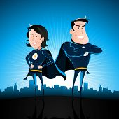 stock photo of superman  - Illustration of a cartoon couple of superhero man and woman standing proudly with star burst shining and cityscape behind - JPG