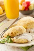 foto of biscuits gravy  - Homemade Buttermilk Biscuits and Gravy for Breakfast - JPG