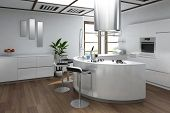 image of stool  - Modern luxury kitchen interior with bar stool - JPG