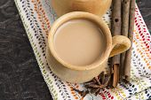 stock photo of darjeeling  - Masala chai with herbs and spices. spicy tea