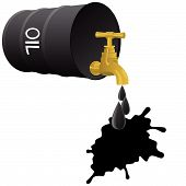 foto of stopcock  - Barrel of oil products and stopcock dripping drops of oil - JPG