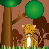 foto of ocelot  - a happy leopard in a safari background - JPG