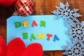 foto of letters to santa claus  - Letter to Santa Claus on wooden table close - JPG
