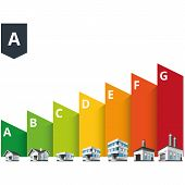stock photo of efficiencies  - Infographic vector illustration of buildings energy efficiency classification with house office and factory - JPG